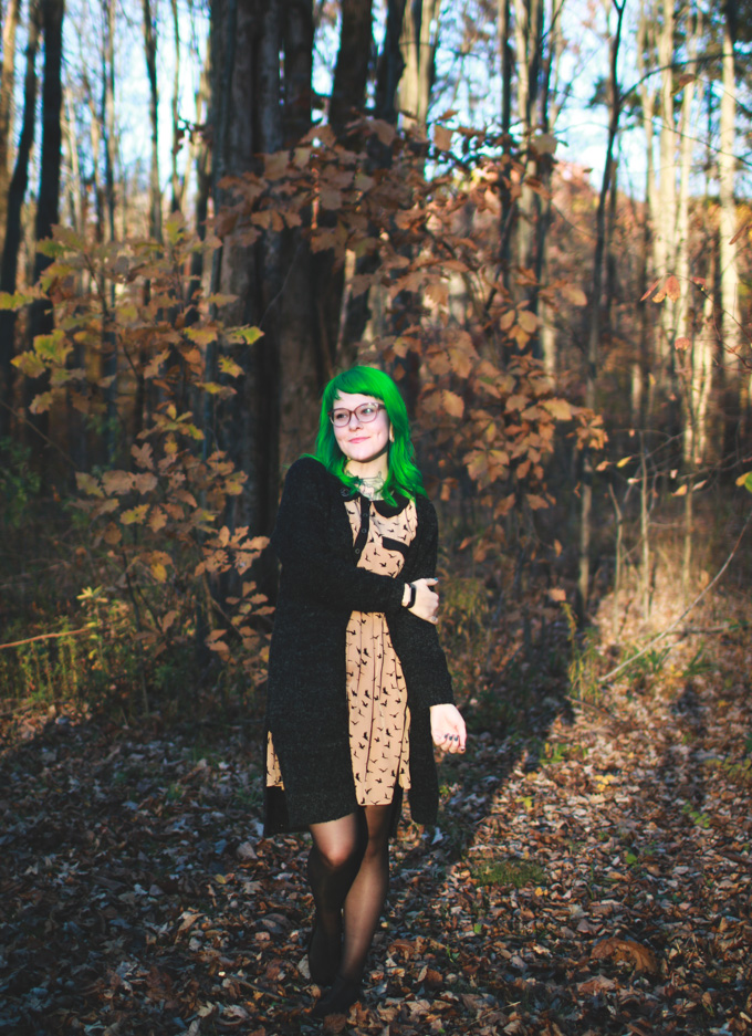 cleveland blogger, green hair, autumn fashion, the dainty squid