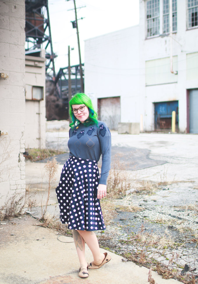 what I wore, polka dot skirt,
