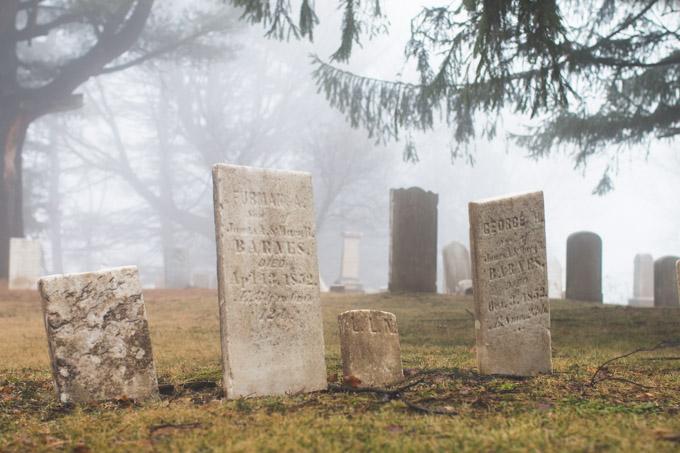cemetery, fog, foggy, pa, grahamville cemetery,