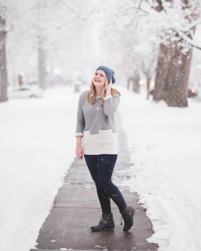 winter outfit with a beanie