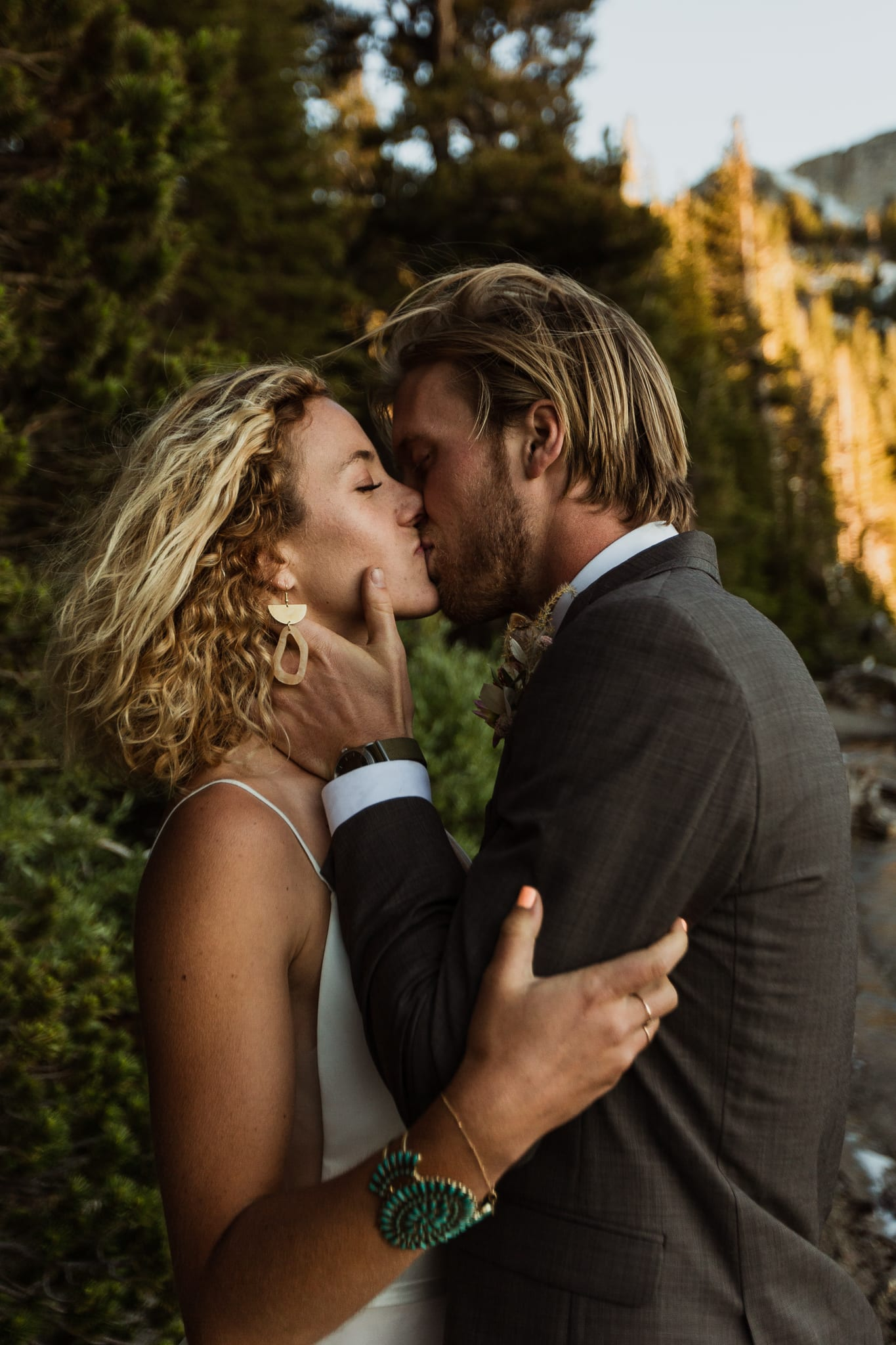 Tyler and Haylee kiss passionately as they celebrate their adventure elopement.