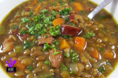 Lentil and Sausage Soup cooked in an Instant Pot, full of vegetables