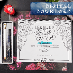 Level Up Brush Minuscules Calligraphy Workbook Digital Download