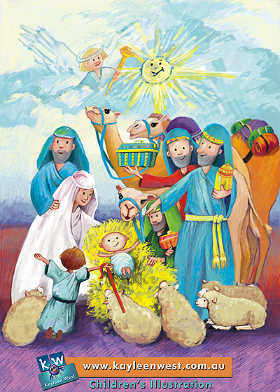 Childrens Illustration Baby Jesus Nativity Kayleen