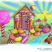 52 week illustration challenge. Gift card Challenge #illo52weeks architecture - Candy Land