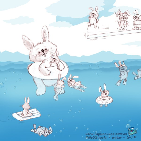 52 week illustration challenge. Gift card Challenge #illo52weeks water - baby rabbits