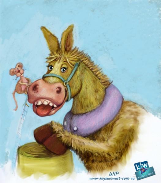 52 Week Gift Card Challenge – #17 Donkey Illustration in digital pastel.