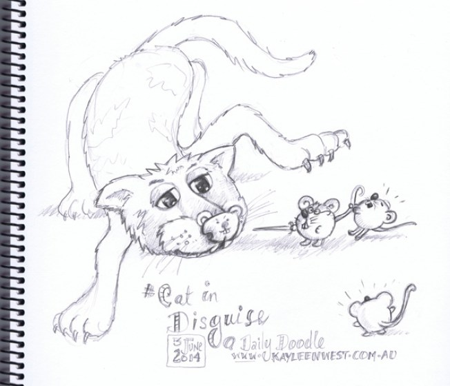Daily Doodle Cat In Disguise , mice. Childrens illustration, drawing in sketchbook