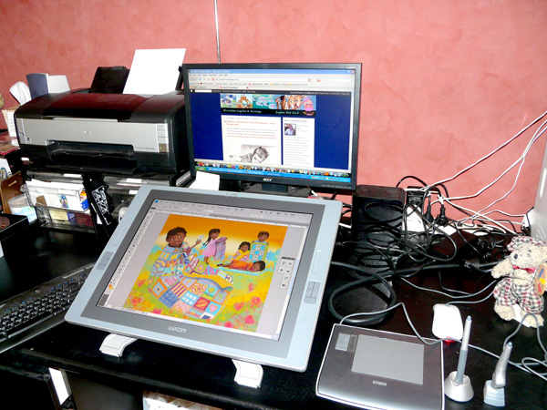 My Cintiq monitor and my old Intuos tablet.