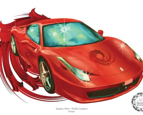 Commercial illustration: Red Ferrari - car magazine illustration