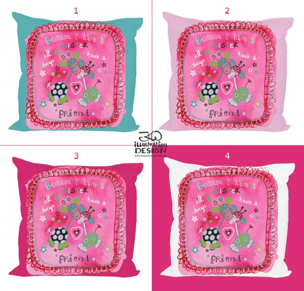Giraffe Sisters surface design. Because I have a sister I'll always have a friend. Pink cushion for girls.