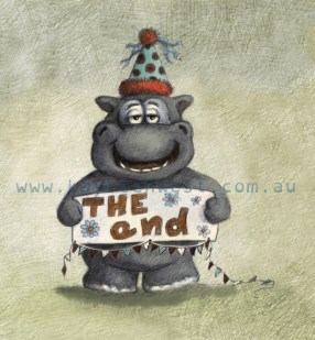 Happy Hippo birthday card. Digital Childrens illustration