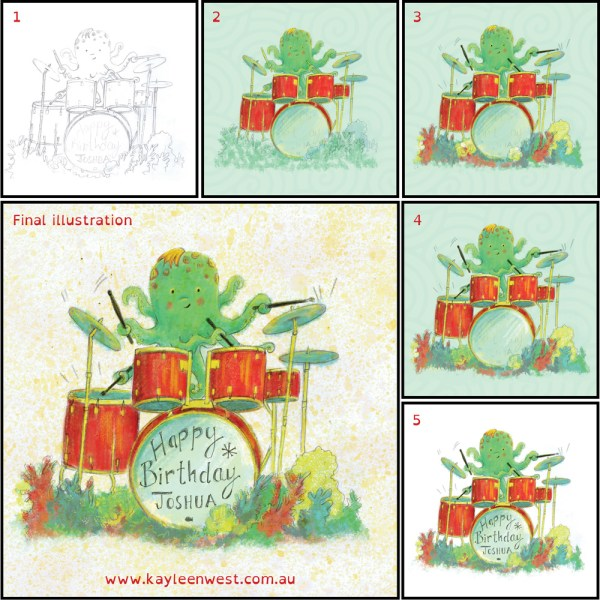 Boy's birthday card illustration. Octopus drummer.