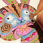 Adult Colouring Tutorial - Stage 7 Details: How not to make a colourful mess: patchwork rabbit