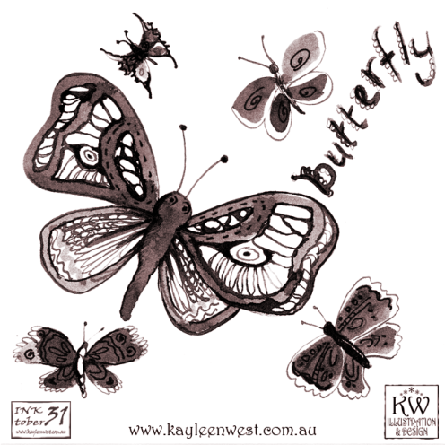 INKtober 2014. An inked sketch each day for the month of October. Today it is a inked butterflies for a surface design illustration. #inktober
