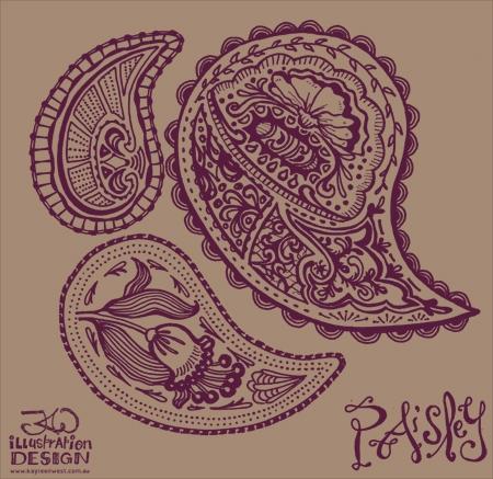 Surface pattern design: Paisley prints WIP