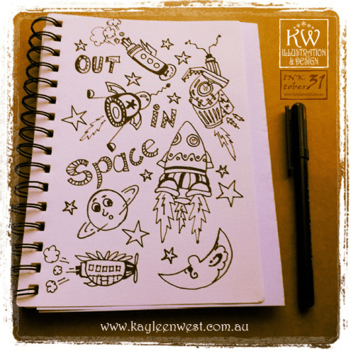 INKtober 2014. An inked sketch each day for the month of October. Today it is a inked space ships for a surface design illustration. #inktober