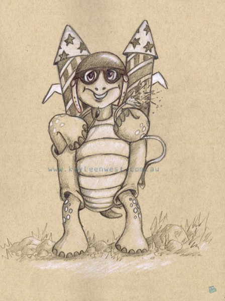 Children's illustration. Tortoise and the hare. Rockets - Let's get the party started. Toned sketchbook