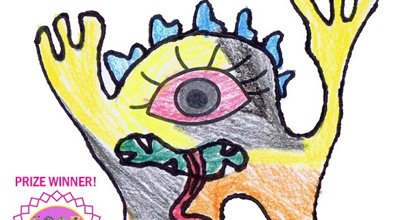 School drawing competition. Eye and imagination winning drawing by prep student Jed Fraser Monbulk Primary School