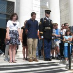My classmates placing a wreath in front of the Tomb of the Unknown Soldiers.