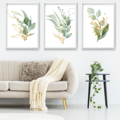 Green and Gold Botanical Print Set