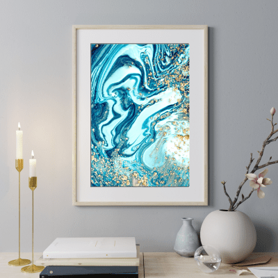 Blue and Gold Fluid Print
