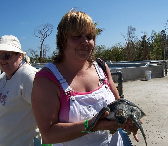 Sister T holding another turtle