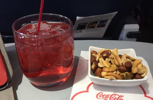 Started the meal off with warm nuts and a cranberry vodka.