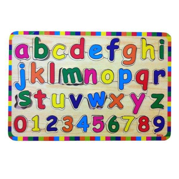 puzzle huruf kecil kayuseru - Puzzle Huruf Kecil & Angka Kayu Seru