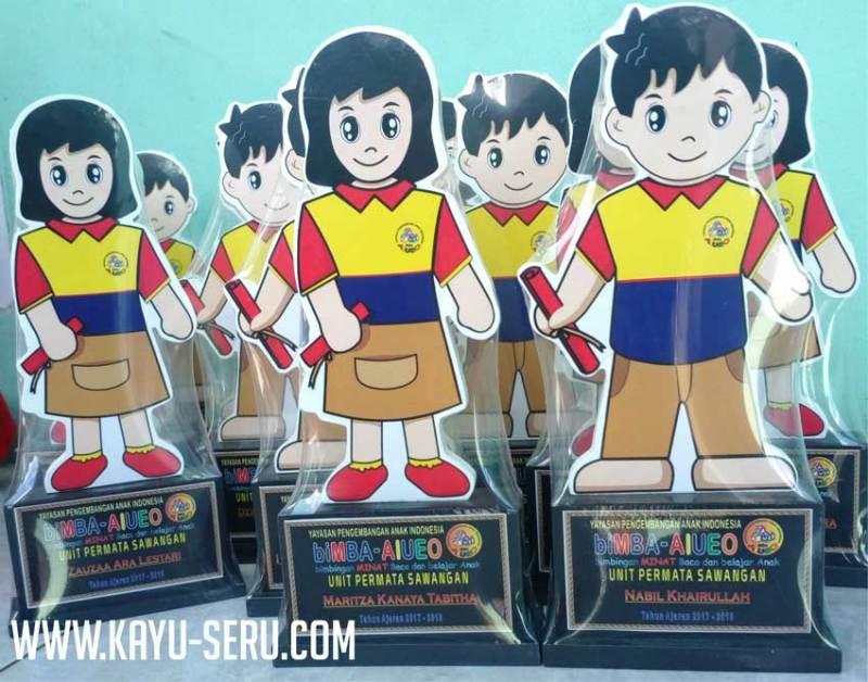 bimba permata sawangan - Piala Kelulusan Bimba AIUEO Sawangan Depok, Plakat Kayu