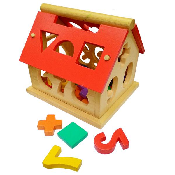 mainan kayu rumah angka - Rumah Angka Kayu Natural