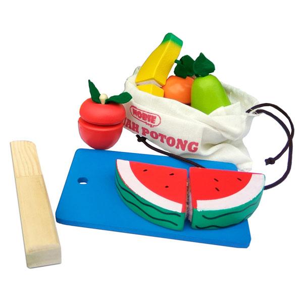 buah potong tas - Potong Buah Kayu + Tas