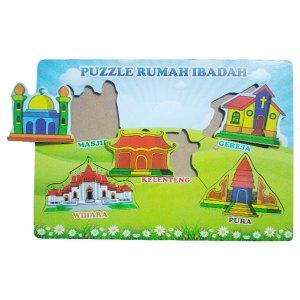 puzzle rumah ibadah - Balok Kayu Natural, Produktifitas, Aktifitas dan Kreatifitas Anak