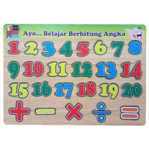 puzzle belajar angka - Balok Kayu Natural, Produktifitas, Aktifitas dan Kreatifitas Anak