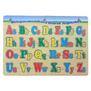 puzzle huruf besar kecil - Balok Kayu Natural, Produktifitas, Aktifitas dan Kreatifitas Anak