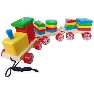 Kereta Bentuk Geometri - Balok Kayu Natural, Produktifitas, Aktifitas dan Kreatifitas Anak