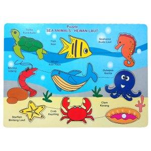 puzzle binatang laut - Balok Kayu Natural, Produktifitas, Aktifitas dan Kreatifitas Anak