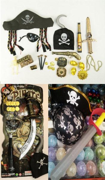 Делаем костюм пирата на скорую руку используя набор: шляпа, оружие, серьга, золото, скелет, накладка  на глаз, крюк, золото