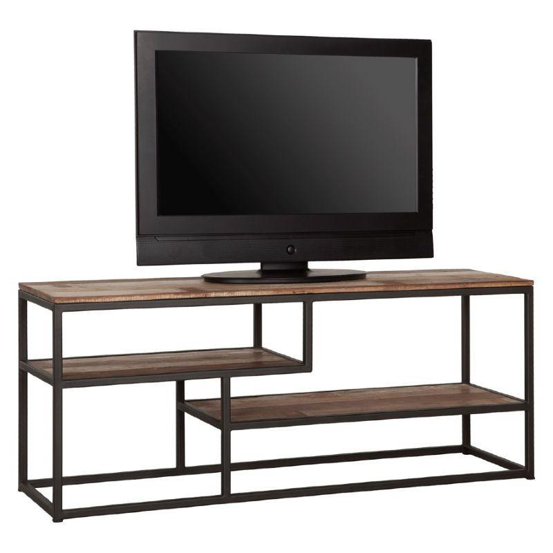 meuble tv bois recycle et metal macabane alida 125cm