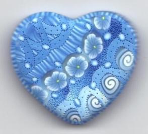 blue heart pendant - front