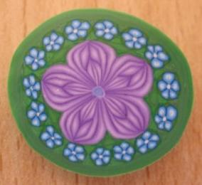 purple and blue flower millefiori cane