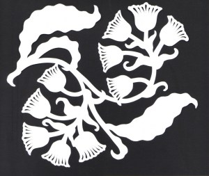 bell-flower on white paper
