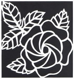 rose on white paper