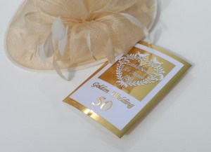 Laser-cut golden wedding card