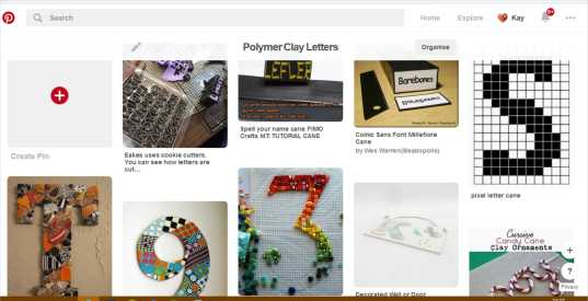 "Screenshot of Pinterest board ""Polymer Clay Letters"""