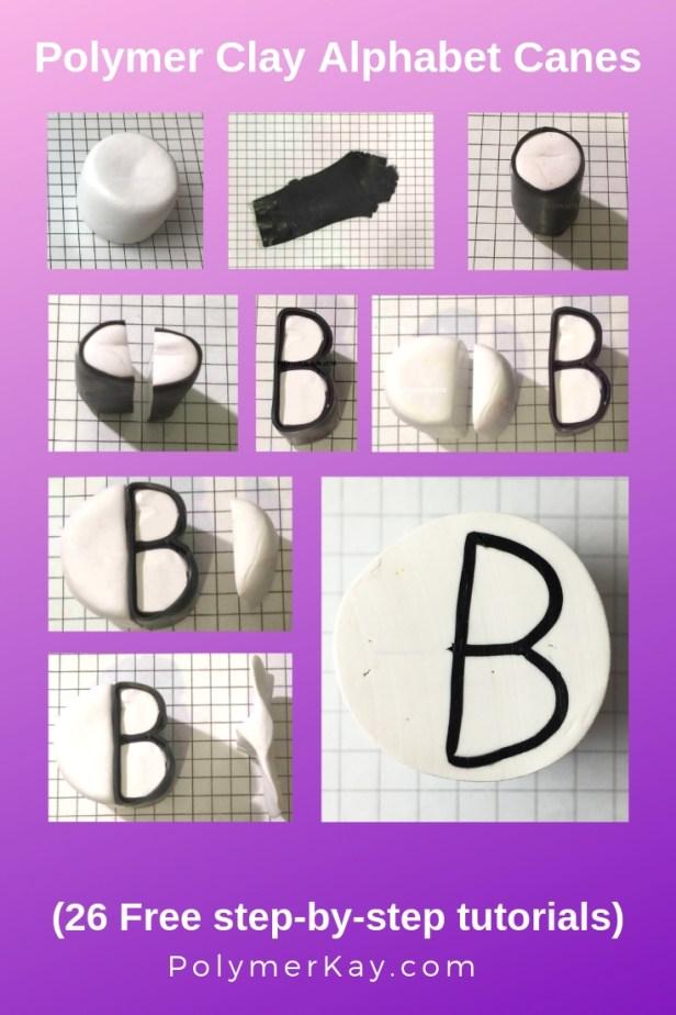Letter B polymer clay alphabet cane tutorial - KayVincent