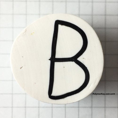 Letter B polymer clay cane - Kay Vincent