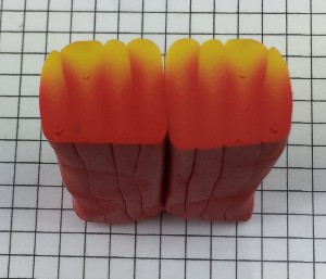 Line up the polymer clay canes