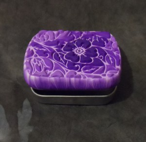 lisa pavelka purple sutton slice polymer clay technique - covered tin
