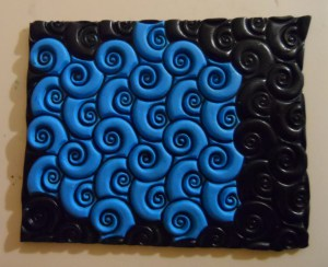 Lisa Pavelka's sutton slice polymer clay technique - swirlyQ texture stamp